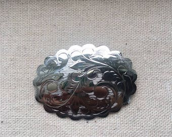 Vintage Sterling Silver Etched & Scalloped Brooch