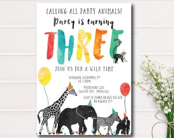 Invitations announcements etsy au calling all party animals birthday invitation zoo birthday invitation safari animals color printable stopboris Images