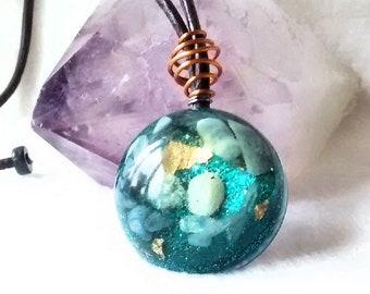 Energy Healing Orgone  Pendant - Blue Lace Agate,Kyanite, Shungite and Clear Quartz   EMF  Protection,  Reiki, Meditation Tool
