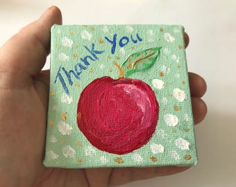 Personalised Valentines Day Card // Mini canvas // Thank You card // apple painting // Anniversary Card // Wedding card // Teachers gift