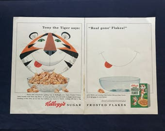 Vintage Kellogg's Sugar Frosted Flakes Cereal Ad