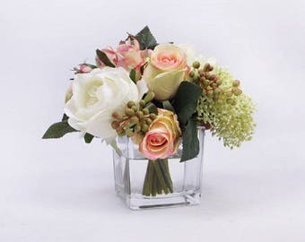 White and Pink Rose with Greenery Flower Arrangement with Faux Water