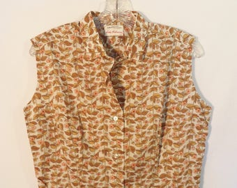 50s sleeveless floral leaf blouse//Vintage Lady Hathaway Liberty of London textile// Mod Mad Men rockabilly tank// Women's size medium M ML