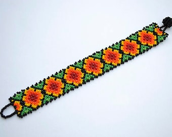Chaquira Flower and Root Bracelet 7