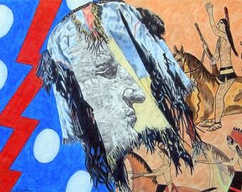 Native American Art, Crazy Horse Lakota Sioux, Black Hills South Dakota, Original Colored Pencil Drawing Wall Art
