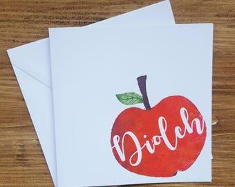 Welsh thank you teacher card - handmade card - diolch teacher card - Welsh card Thank you teacher card - Welsh - diolch