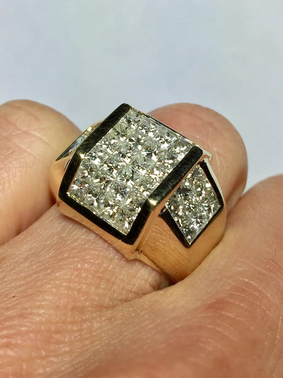 Big Sale 14k gold Men s Diamond Ring Men Invisible Set