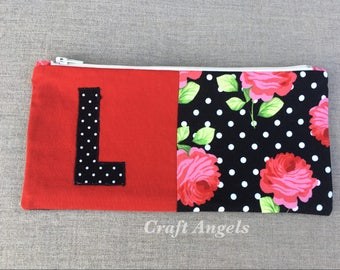Flower Zipper Pouch, Cosmetic Case, Personalized Pencil Case, Back To School /Gift For Her/ School Supplies.
