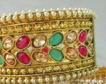 Gold plated Polki bracelet/bangle set