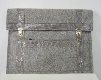 """Cover sleeve for laptop Mac book air case Mac air 13 """"leather and felt, MacBook Pro 13 case, leather and felt"""