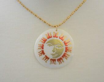 Painted Shell Sunburst Pendant Necklace