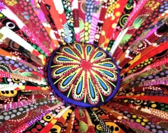 Tuffet Footstool made with Australian Aboriginal fabric by Dalgleish Cloth Works