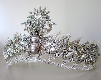 Gothic medusa wedding tiara - silver plated bridal crown crystals rhinestones charms bee witch princess queen - pageant hair accessories