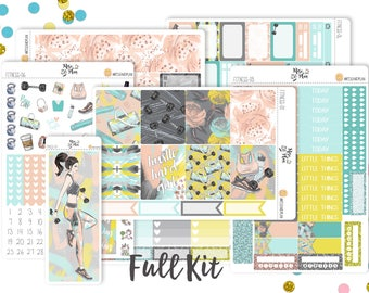 Fitness Floral- Vertical Weekly Kit planner stickers- Workout