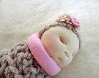 Cloth Doll, Fabric Handmade Doll, Ragg Doll, Stuffed Doll, Baby Girl Gift, Textile Doll, Art Doll, Fabric Soft Doll