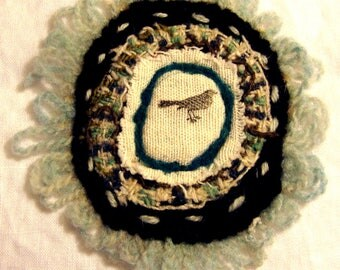Needle Felted Wool Patch Black Bird Crow Magpie Blue Black Cream Teal Tweed Embroidered Pin Mug Rug Jacket Purse Hat Patch
