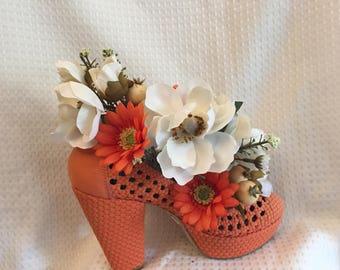 Silk Floral Arrangement Orange Open Weave High Heel Shoe