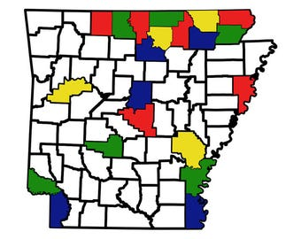 "Arkansas County Map Adventure Tracker 13.2"" x 11.5"""