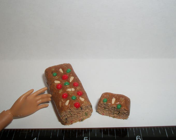 Featured listing image: Dollhouse Miniature Handcrafted Christmas Fruit Cake Bread ~ Dessert Doll Food - refer to Barbie hand for size reference