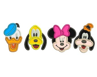 Minnie Goofy Pluto and Donald Applique Design 2 sizes Instant Download