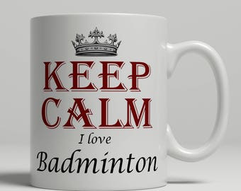 Badminton coffee mug, KEEP CALM, badminton gift idea, badminton mug, badminton fan mug, badminton coffee mug, mug badminton Keep badminton