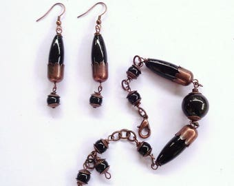 Antiqued copper bracelet and earrings Set black obsidian and black agate