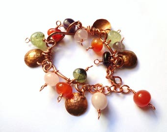 Copper and hard stone bracelet