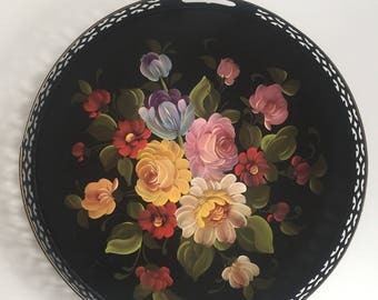 Vintage Floral Metal Tray, Black Hand Painted Floral Tray, Toleware Floral Tray 17 inch, Nashco Floral Tray with Handles,50's Drink Tray