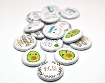 Vegan Badges, Vegan Pin, Vegan Button, Vegan Pinback Buttons, Vegan Gift,