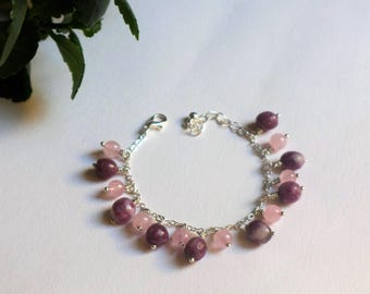 Silver charm bracelet rose quartz and tourmaline