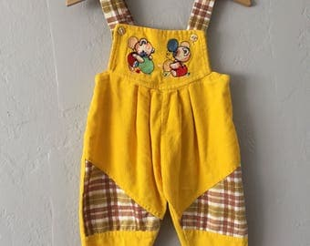Vintage Yellow Bear Corduroy Baby Jumpsuit / Overalls Size 3-6mos