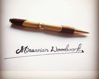Handmade two-tone wooden pen