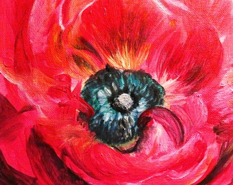 Flower red, acryl painting