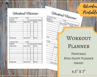 Workout Planner for the Mini Happy Planner, Printable Fitness Planner, Daily Workout Tracker, Cardio Planner, Weight Loss Planner,