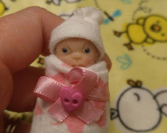 "OOAK 2"" polymer clay baby bundle gift box with flocked teddy and more - Cute!!"