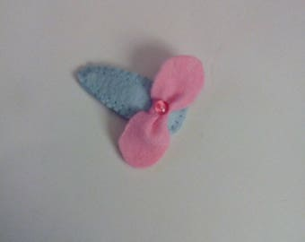Pink hair clip blue with bow