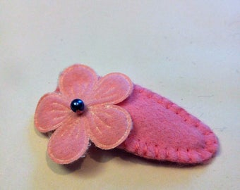 baby girl pink flower hair clip