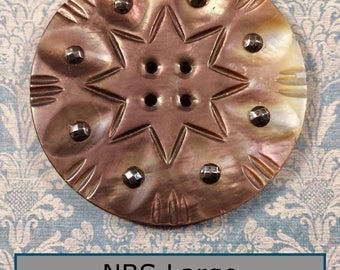 Huge NBS Large Carved 8 Point Star Pearl with Lots of Fire, Riveted Cut Steels 4 Hole Button