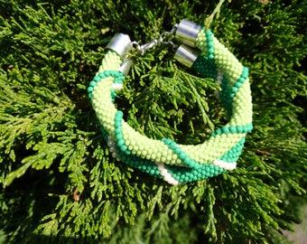 Double green crocheted rope bracelet