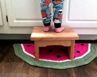 Crochet Half Circle Watermelon Rug  Half Circle Rug   Bathroom Rug   Bath  Mat