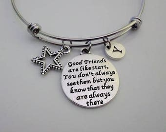 Friends bangle, Gift for Friend, Good friends are like stars You don't always see them but know they are always there , friendship gift