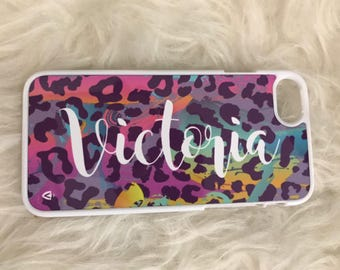 Personalised Phone Case in colourful leopard print with white personalisation