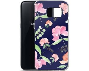 Samsung Case Peonies - Navy Blue