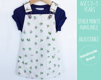 Tree Print Dungaree Dress, Girls Pinafore, Woodland Dress, Forest Dress, Toddler Outfit, Children's Dungarees, Kids Dungarees, Party, Cream