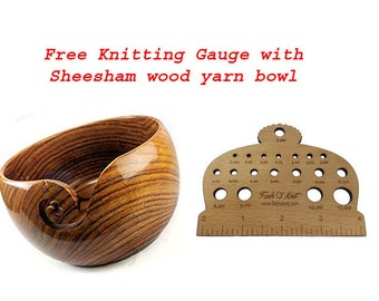 Free Knitting Gauge with Sheesham wood Yarn Bowl