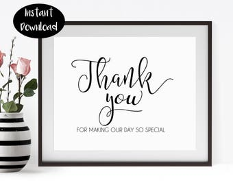 Thank You For Making, Our Day So Special ,Special Occasion ,Wedding Gift ,Thanks Printable Digital Download INSTANT DOWNLOAD