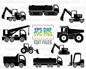 Construction Svg, Construction Clipart, Construction Decals, Tractor Svg, Transportation Clipart, Truck Svg, Crane Svg, Car Svg, Png Files