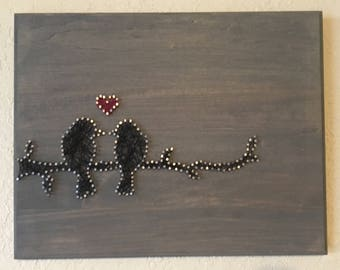 Love Birds on a Branch String Art