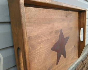 Primitive Country Stove Noodle Board Serving Tray Walnut Stained w/Burgundy Star