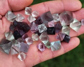 fluorite - 39 pcs beautivul translucent green/purple octahedron fluorite  cristals  China
